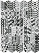 Chevron Floor Patchwork B&W Derecho (Right) - dlaždice 9x20,5