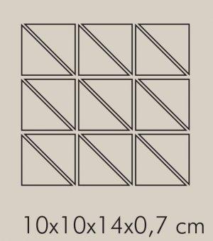 TR Ferro Rete RAL 8019 - dlaždice mozaika 10x10x14 šedá lesklá