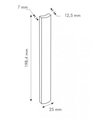 TR Ferro Quadra RAL 8019 - dlaždice bombato 2,5x20 šedá lesklá