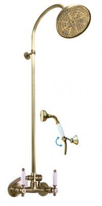 Vodovodní baterie sprchová Morava stará mosaz s hlavovou a ruční sprchou, keramické páčky