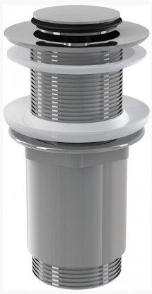 Výpust umyvadlová click/clack 5/4 celokovová bez přepadu, malá zátka, pro plastová a skleněná umyvadla