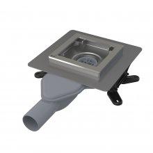 APV110 - podlahová vpust nerezová extra-nízká 130x130 mm boční, bez mřížky, vodní zápachová uzávěra