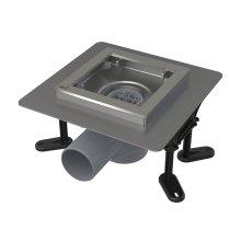 APV130 - podlahová vpust nerezová 130x130 mm boční, bez mřížky, vodní zápachová uzávěra