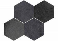 Malla Hexagono Derby Negro - dlažba mozaika 29,2x42,5 šedá