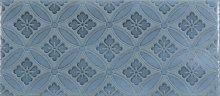 Maiolica Blue Steel Deco - obklad 11x25 tyrkysová