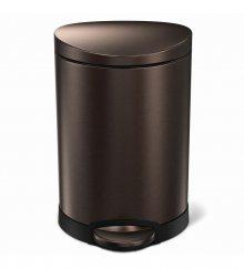 Pedálový odpadkový koš Simplehuman - 6 l, půlkulatý, dark bronze