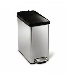 Pedálový odpadkový koš Simplehuman - 10 l, hranatý, plastové víko, matná ocel