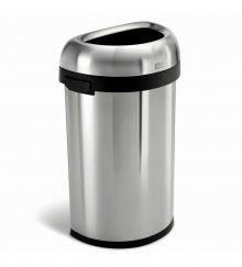Odpadkový koš Simplehuman do komerčních prostor - 60 l, půlkulatý, otevřený, kartáčovaná ocel