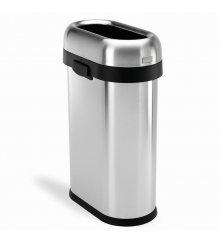 Odpadkový koš Simplehuman do komerčních prostor - 50 l, slim, otevřený, kartáčovaná ocel