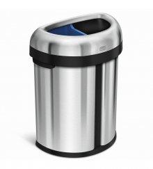 Odpadkový koš na tříděný odpad Simplehuman - 66 l, dvojitý, otevřený, kartáčovaná ocel
