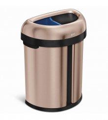 Odpadkový koš na tříděný odpad Simplehuman - 66 l, dvojitý, otevřený, rose gold ocel