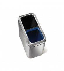 Odpadkový koš na tříděný odpad Simplehuman - 20 l, hranatý, otevřený, kartáčovaná nerez ocel