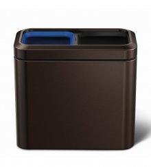 Odpadkový koš na tříděný odpad Simplehuman - 20 l, hranatý, otevřený, dark bronze
