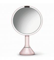 Kosmetické zrcátko na zeď Simplehuman sensor touch, LED osvětlení, dobíjecí, 5x, růžová