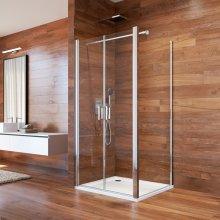 Sprchový kout, Lima, čtverec, 80 cm, chrom ALU, sklo čiré, dveře lítací
