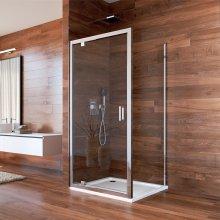 Sprchový kout, Lima, čtverec, 80 cm, chrom ALU, sklo čiré, dveře pivotové