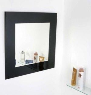 VÝPRODEJ VZORKŮ zrcadlo, čtverec, skládané, podklad Lacobel černý, 60x60 cm