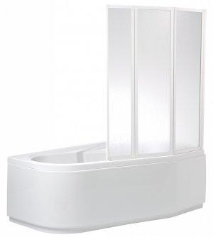 VZKR 3/100 - vanová zástěna třídílná 100x135 cm, sklo čiré s water off