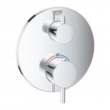 Atrio - podomítková termostatická baterie pro 2 výstupy s uzavíracím/přepínacím ventilem (pro sprchu), bez podomítkového tělesa
