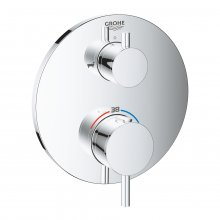 Atrio - podomítková termostatická baterie pro 2 výstupy s uzavíracím/přepínacím ventilem (pro vanu), bez podomítkového tělesa