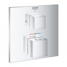 Grohtherm Cube - termostatická podomítková baterie pro 2 výstupy, bez podomítkového tělesa, pro sprchu