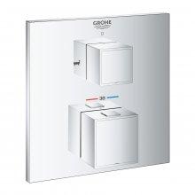 Grohtherm Cube - termostatická podomítková baterie pro 2 výstupy, bez podomítkového tělesa, pro vanu