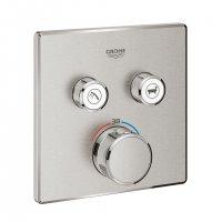 Grohtherm SmartControl - termostat pro podomítkovou instalaci s 2 ventily, bez podomítkového tělesa, Supersteel