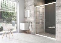 BLDP4 180 dveře posuvné, rám bílý/sklo transparent