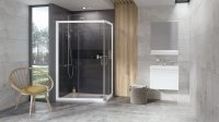 10AP4-120/90 (75) sprchový kout rohový, rám bílý/sklo transparent