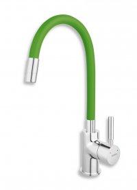 Dřezová stojánková baterie s elastickým ramenem, zelená-chrom