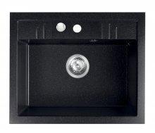 Granitový dřez, s přepadem z dřezu, grafit 58x48