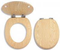 WC sedátko jasan, dýhované dřevo, pomalé sklápění
