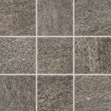 Quarzit - dlaždice rektifikovaná 10x10 hnědá matná reliéfní