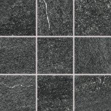 Quarzit - dlaždice rektifikovaná 10x10 černá matná reliéfní