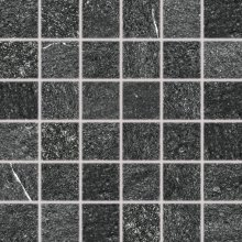 Quarzit - dlaždice mozaika 5x5 černá matná reliéfní