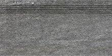 Quarzit - schodovka rektifikovaná 30x60 šedá matná reliéfní