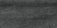 Quarzit - schodovka rektifikovaná 30x60 černá matná reliéfní