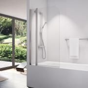 SLB13 - jednodílná vanová zástěna s pevnou stěnou v rovině pravá 90 cm