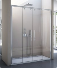 PLS4 - dvoudílné posuvné dveře s 2 pevnými stěnami v rovině 140 cm
