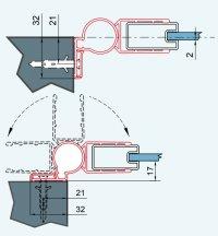 ATYP Profil k upevnění boční stěny s dveřmi pod úhlem (montáž na dlažbu), černý matný, pro Annea, Solino