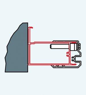 ATYP profil k rozšíření dveří na straně madla nebo boční stěny ke zdi o 25 mm, matný elox, pro Swing-Line, Swing-Line F