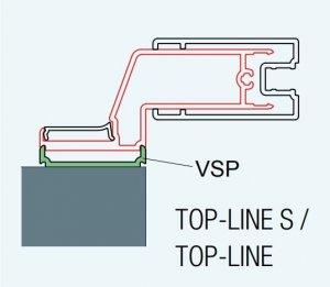 ATYP profil k postrannímu upevnění dveří nebo stěny, matný elox, pro Top-Line, Top-Line S