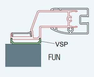 ATYP profil k postrannímu upevnění dveří nebo stěny, aluchrom, pro FUN