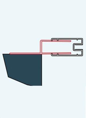 ATYP profil k postrannímu upevnění dveří nebo boční stěny, aluchrom, pro Top-Line, Eco-Line, Fun