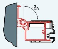 ATYP profil k upevnění dveří na straně madla nebo boční stěny do zdi pod úhlem 0-90°, pro Swing-Line