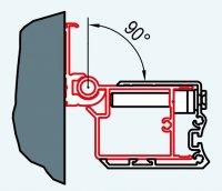 ATYP profil k upevnění dveří na straně pantů do zdi pod úhlem 0-90°, pro Swing-Line, Swing-Line F