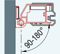 ATYP profil k upevnění dveří na straně madla nebo boční stěny do zdi pod úhlem 90-180°, pro Swing-Line, Swing-Line F