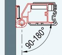 ATYP profil k upevnění dveří na straně pantů do zdi pod úhlem 90-180°, pro Swing-Line, Swing-Line F