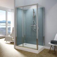 Modul 1400 TED+TOPF - kompletní sprchová kabina 80x120 cm, termostatická baterie, hlavová sprcha, jednokřídlé dveře
