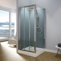 Modul 1400 TOPS3+TOPF - kompletní sprchová kabina 80x100 cm, termostatická baterie, hlavová sprcha, posuvné dveře